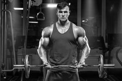 Muscular man working out in gym doing exercises with barbell at biceps stock photos