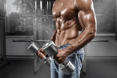 Muscular man working out in gym doing exercises with barbell, strong male naked torso abs.  royalty free stock photo