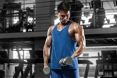 Muscular man working out in gym doing exercises for biceps, strong male Stock Image