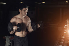 Muscular man working out in gym doing exercises with dumbbells a stock photos