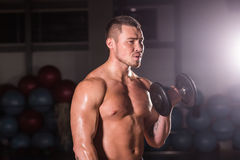 Muscular man working out in gym doing exercises with dumbbells at biceps, strong male naked torso abs. Muscular man working out in gym doing exercises with Stock Photo