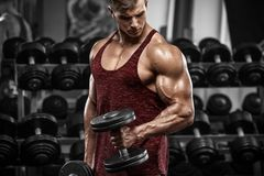 Muscular man working out in gym doing exercises with dumbbells, strong male.  royalty free stock photography
