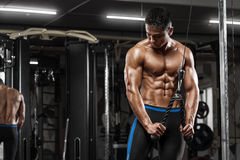 Muscular man working out in gym doing exercises at triceps, strong male naked torso abs royalty free stock photography