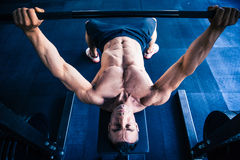 Muscular man workout with barbell on bench Stock Photography