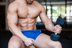 Muscular man workout with dumbbell Royalty Free Stock Photography