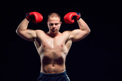 Muscular man - young caucasian boxer Royalty Free Stock Photos