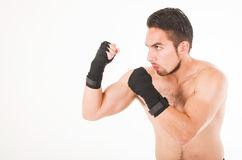 Muscular martial arts fighter attacking Stock Image
