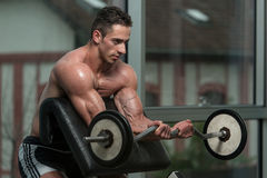 Muscular Men Doing Heavy Weight Exercise For Biceps Stock Photo