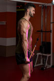 Muscular Men Doing Heavy Weight Exercise For Triceps Stock Image