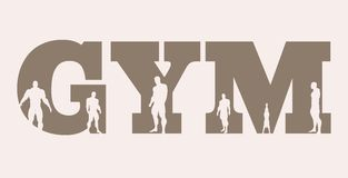 Muscular men silhouettes on gym word. Vector silhouette Royalty Free Stock Image
