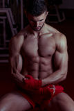 Muscular MMA Fighter Celebrating His Victory Royalty Free Stock Photos