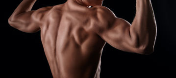 Muscular model showing his back muscles. And posing on black background Royalty Free Stock Photos