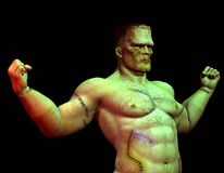 Muscular Monster. 3D rendering of a scarred, muscular Monster vector illustration