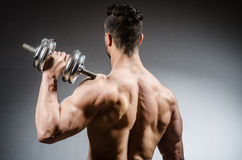 Muscular ripped bodybuilder with dumbbells Royalty Free Stock Image