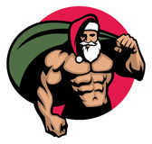 Muscular Santa claus bring a bag full of christmas gift Royalty Free Stock Photo