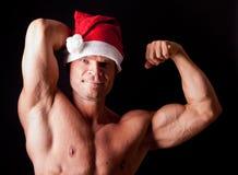 Muscular santa claus Stock Photo