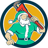 Muscular Santa Plumber Monkey Wrench Circle Cartoon Royalty Free Stock Images