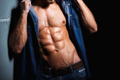 Muscular and sexy body of young sport man in jeans. Shirt with perfect abs and chest Royalty Free Stock Photos