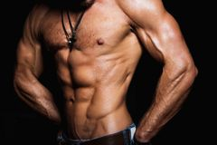 Muscular and sexy torso of young sport man Royalty Free Stock Images