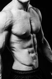 Muscular sexy torso of young sporty man with perfect abs close up. Black and white isolated on black background Royalty Free Stock Images