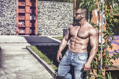 Muscular Shirtless Hunk Man Outdoor in City Royalty Free Stock Photo