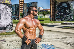 Muscular Shirtless Hunk Man Outdoor in City Stock Photography