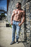 Muscular Shirtless Hunk Man Outdoor in City Stock Photo