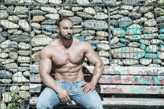 Muscular Shirtless Hunk Man Outdoor in City Royalty Free Stock Image