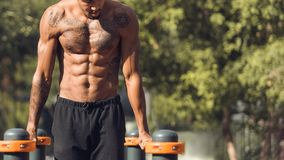 Muscular Shirtless Man Doing Push Ups On Parallel Bars. Training Outdoors royalty free stock image