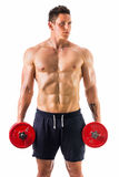 Muscular shirtless young man holding dumbbells Royalty Free Stock Image