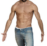 Muscular shirtless young man with open arms Stock Photo