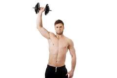 Muscular sports man weightlifting. Royalty Free Stock Image