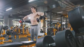 Muscular sportsman in the gym lifting dumbbells without shirt. Wide angle Stock Photos