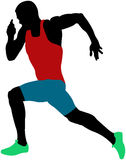 Muscular sprinter athlete. Runner sprinting colored silhouette royalty free illustration
