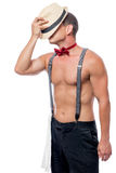 Muscular stripper at work. On white background Royalty Free Stock Photography