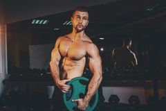 Muscular strong athletic men pumping up muscles and training in gym. Handsome bodybuilder guy doing exercises with barbell. Vintag Royalty Free Stock Image