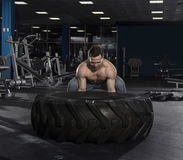 Muscular,Strong bodybuilder pushing tire in modern fitness cente royalty free stock photo