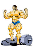 Muscular super bodybuilder posing. Illustration,color,logo,isolated on a white Stock Image