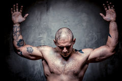 Muscular tattooed man with hands raised up Royalty Free Stock Photo