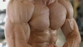 Muscular torso and arms. stock footage