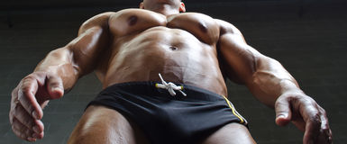 Muscular torso and pecs of male bodybuilder shot from below Stock Images