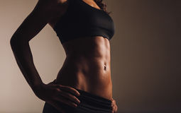 Muscular torso of young woman Royalty Free Stock Photography