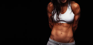 Muscular torso of young woman Royalty Free Stock Images