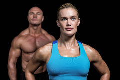 Muscular trainers looking away Royalty Free Stock Photography