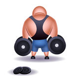 Muscular weightlifter. Rear view of muscular cartoon weightlifter or bodybuilder with heavy dumbbells, white background Stock Photo