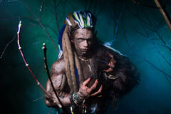 Muscular werewolf with dreadlocks with long nails among the bran Royalty Free Stock Photo