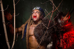 Muscular werewolf hair dreadlocks among the branches of the tree Royalty Free Stock Photos