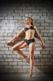 Muscular woman on brick wall background (normal version) Royalty Free Stock Photos