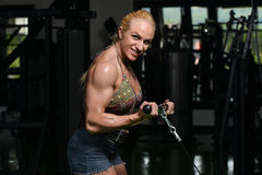 Muscular Woman Doing Heavy Weight Exercise For Biceps Stock Photos