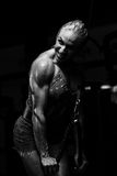 Muscular Woman Doing Heavy Weight Exercise For Triceps Royalty Free Stock Images